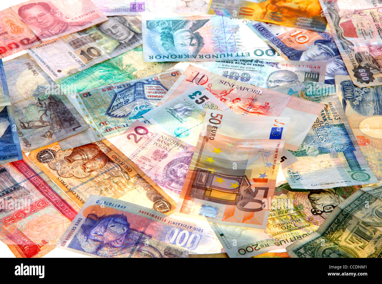Different currencies, from different countries of the world. Bank notes, cash. - Stock Image