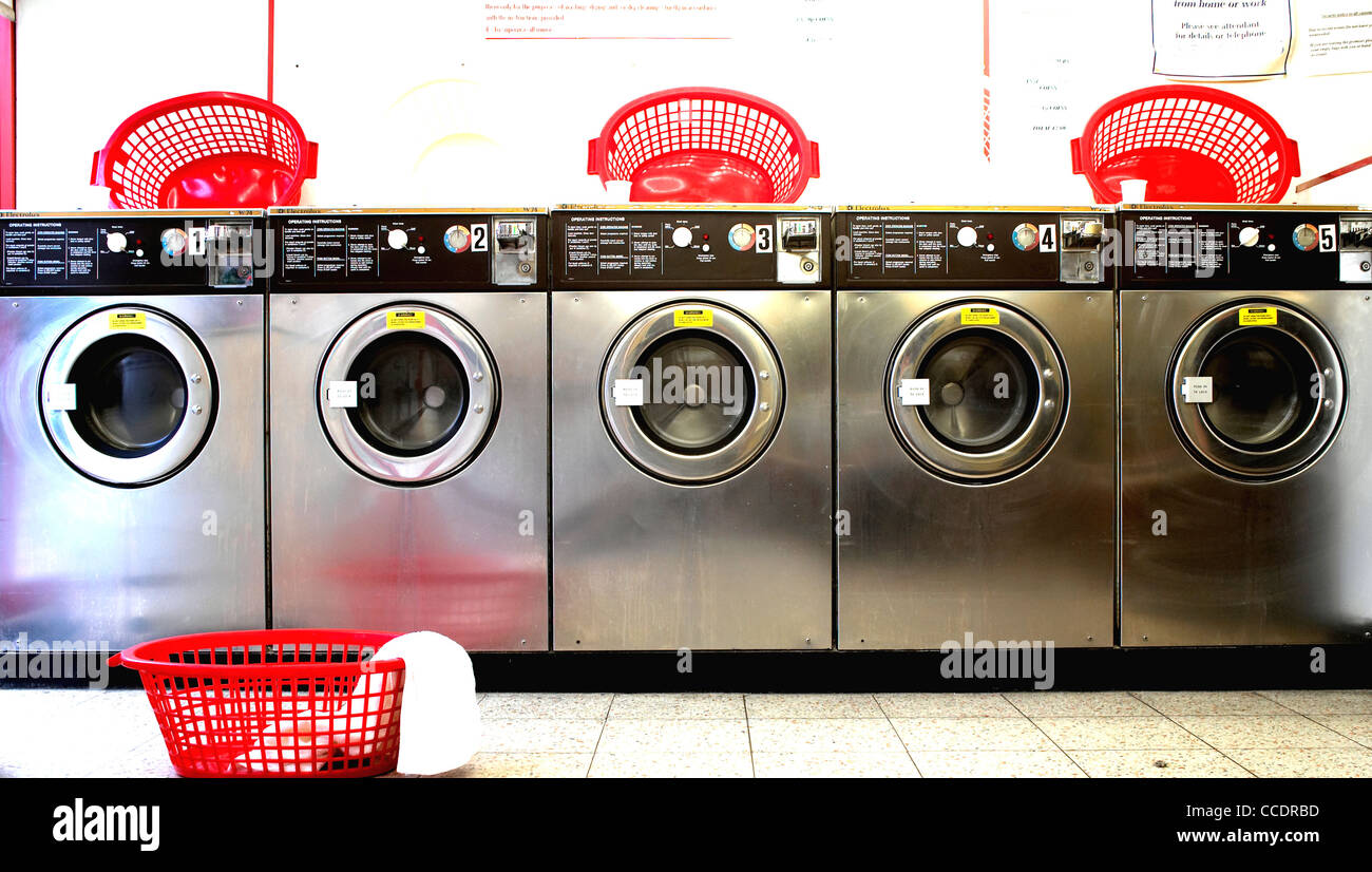 a view of a laundrette - Stock Image