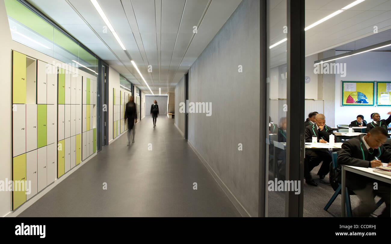 EVELYN GRACE ACADEMY, ZAHA HADID ARCHITECTS, LONDON, 2010, INTERIOR CORRIDOR WITH DOOR INTO CLASSROOM Stock Photo