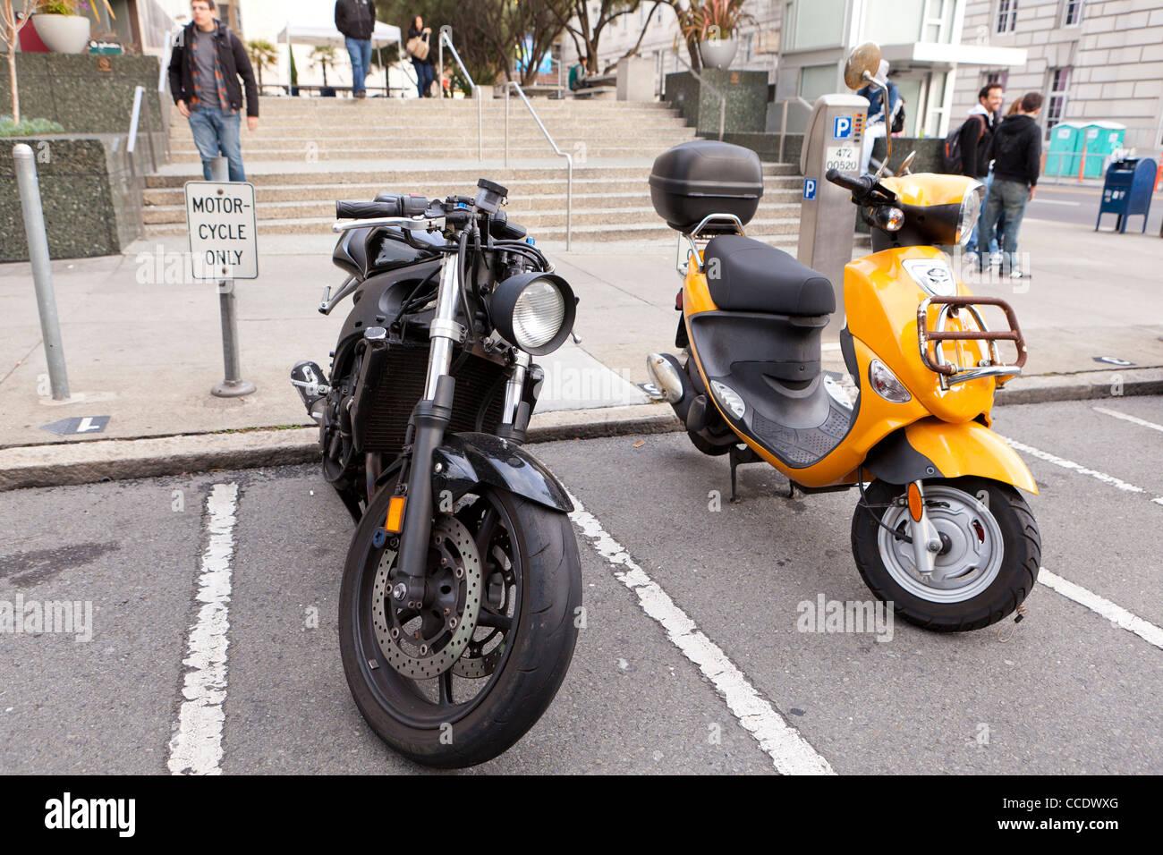 Motorcycle parking spot - Stock Image