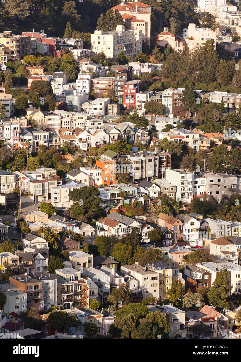 San Francisco homes on hillside - Stock Image