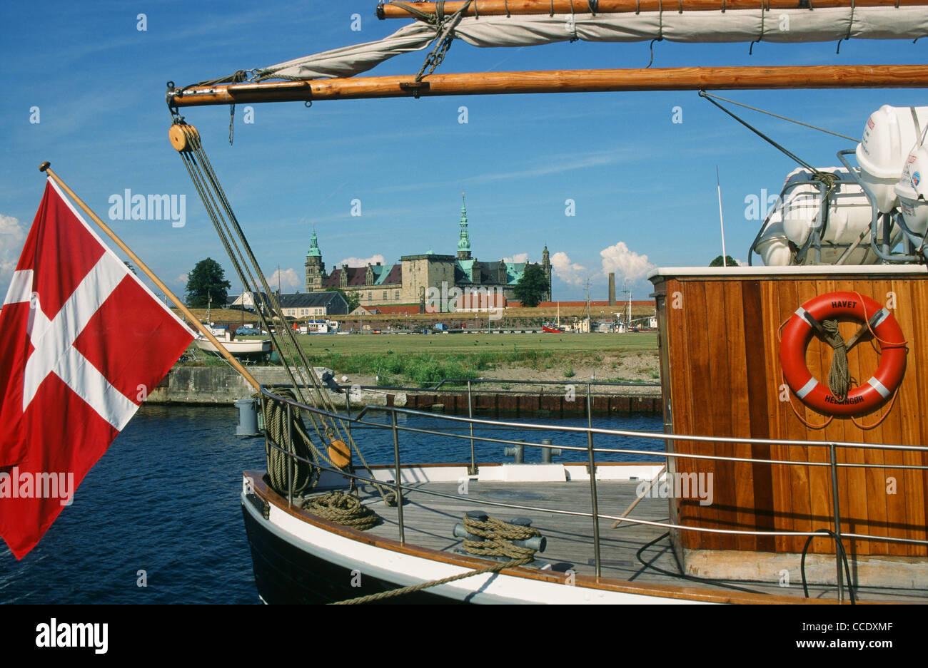Kronborg castle at Helsingor on the island of Sealand in Denmark - Stock Image
