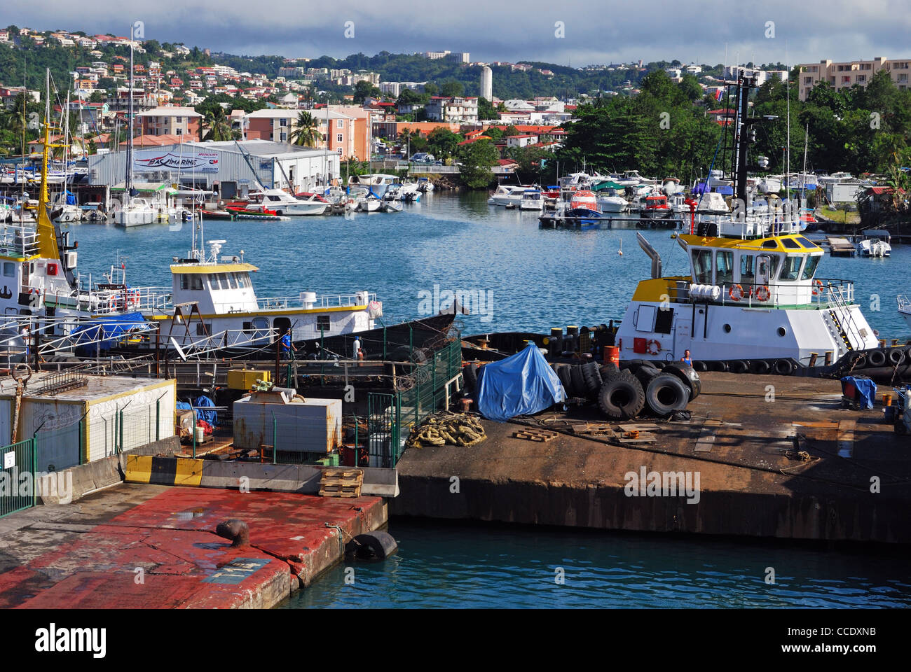 Fishing Boats In The Harbour Port De France Martinique Caribbean