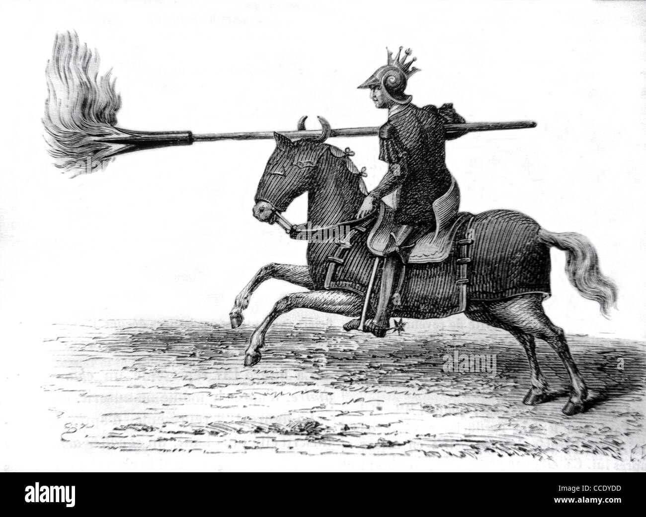 Medieval Knight, Cavalry, Horseman or Mounted Soldier with Flaming Lance or Spear, c19th Engraving - Stock Image