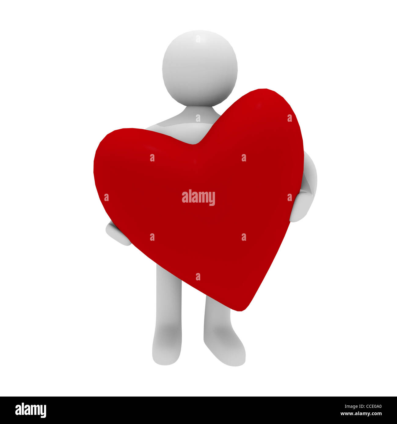 Man with a red heart, 3D image - Stock Image