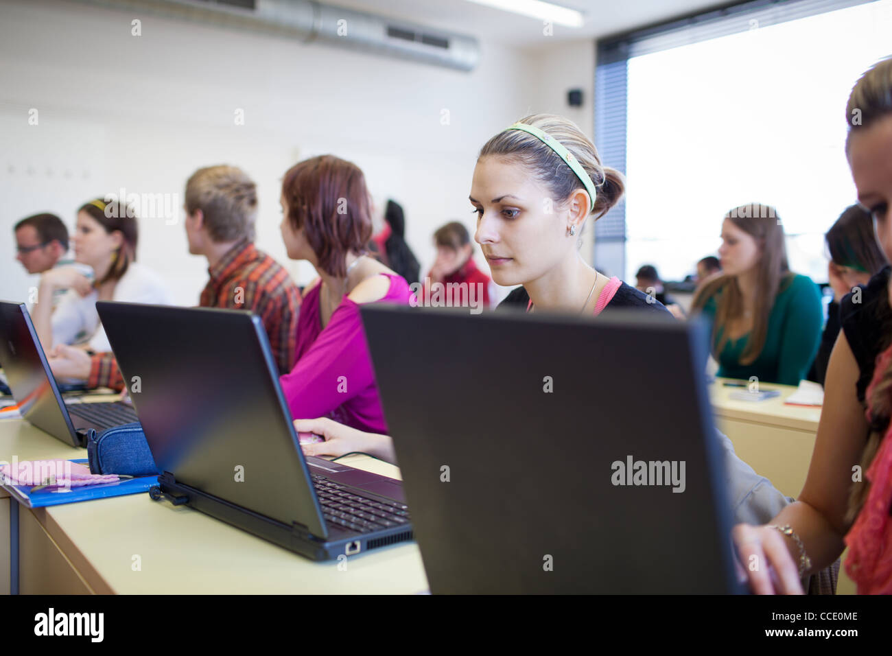 college students sitting in a classroom, using laptop computers during class (shallow DOF) Stock Photo
