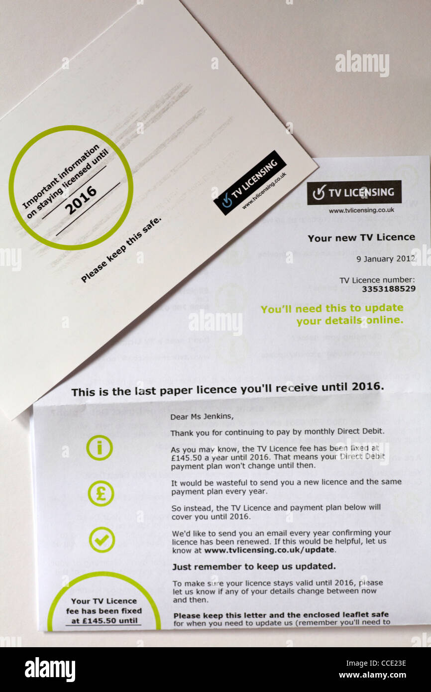 letter received from TV licensing advising of important information on staying licensed until 2016 - Stock Image