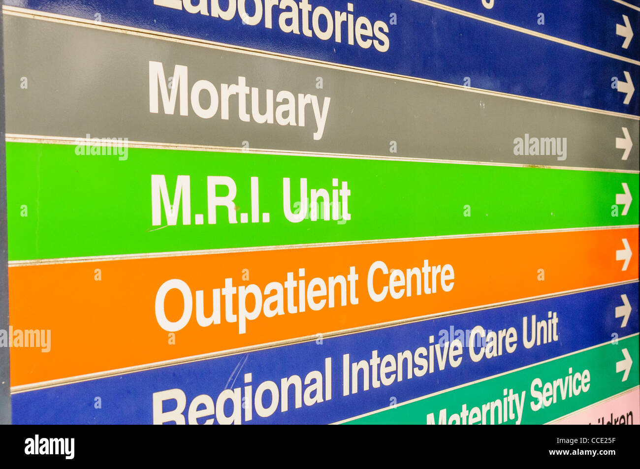 Signs at a hospital for Mortuary, MRI Unit, Outpatient Centre and Regional Intensive Care Unit - Stock Image