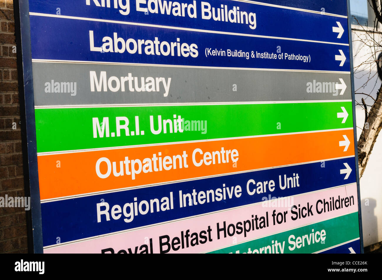 Signs at a Royal Victoria Hospital Belfast for Laboratories, Mortuary, MRI Unit, Outpatient Centre,Regional Intensive - Stock Image