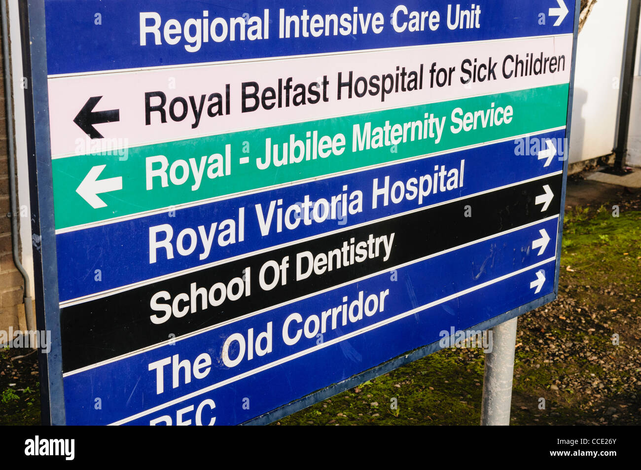 Signs at a Royal Victoria Hospital for Regional Intensive Care Unit, Royal Jubilee Maternity Service, School of - Stock Image