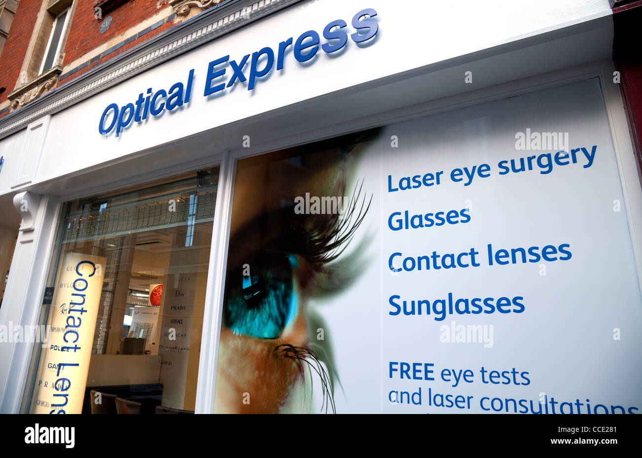 Optical express optician shop window, Cambridge UK - Stock Image