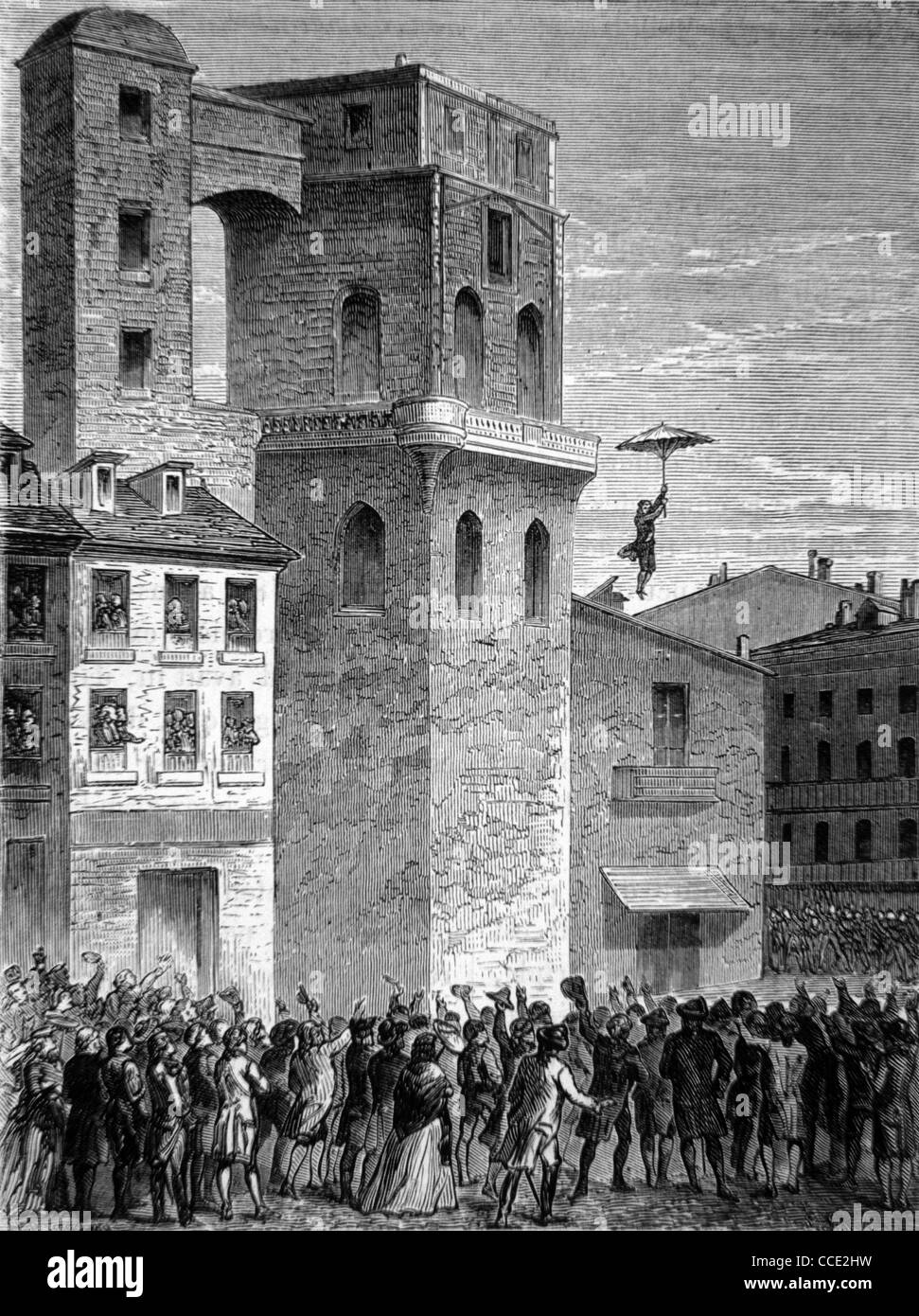 World's First Parachute Jump, Paris 1785, by French Inventor,  Aviator & Ballooning Pioneer Jean-Pierre - Stock Image
