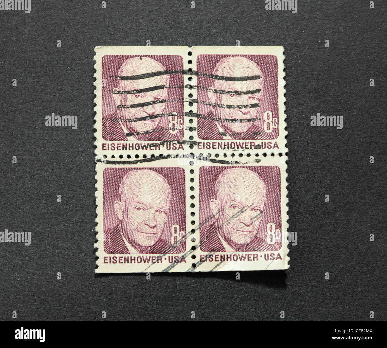 President Eisenhower on vintage american postage stamps Stock Photo