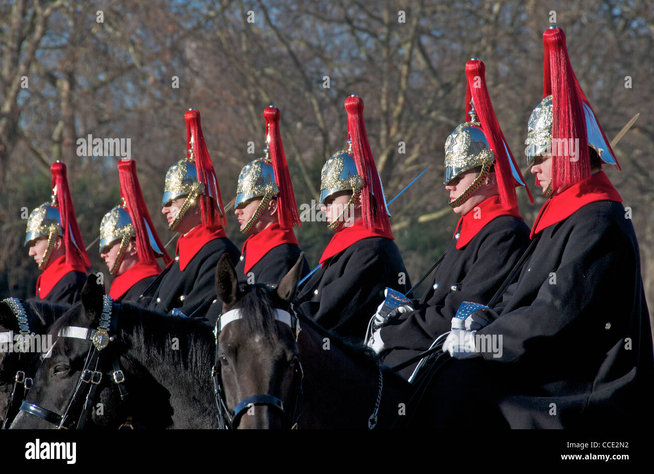 Close-up seven guardsmen on horseback Horse Guards Parade London England - Stock Image