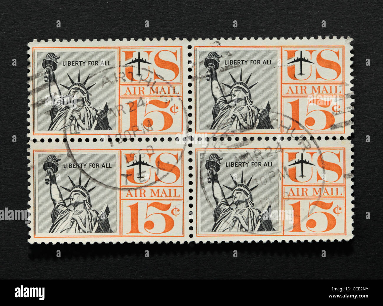 Block of four American vintage postage stamps with Statue of Liberty illustration - Stock Image