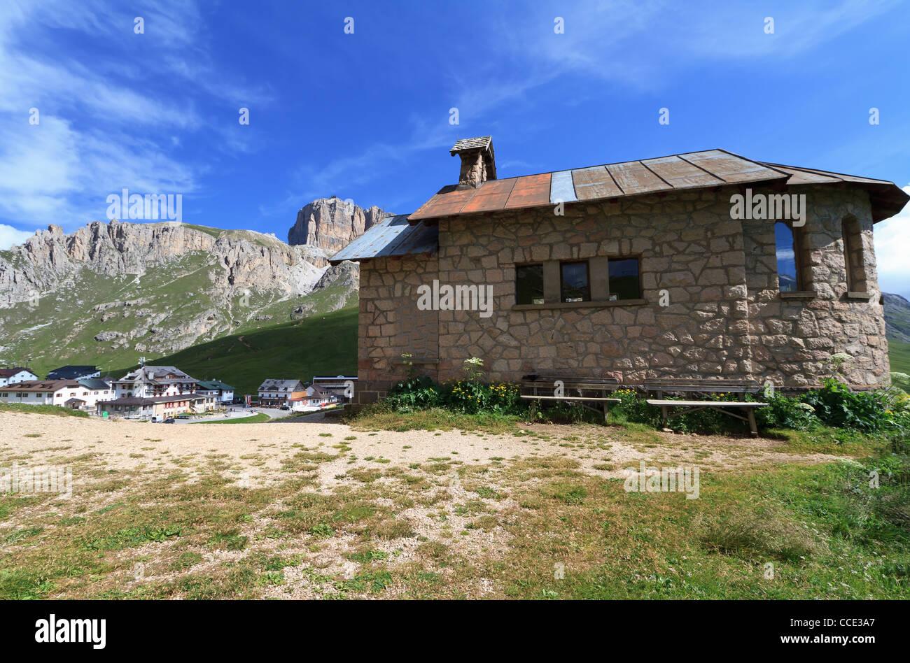 chapel in Pordoi pass between Arabba and Canazei, Italian Dolomites - Stock Image
