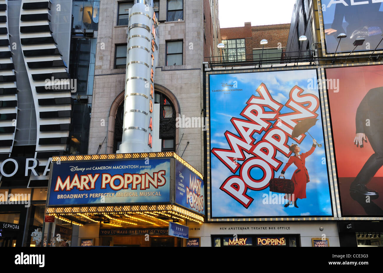 Broadway, Mary Poppins show poster, New York, USA Stock Photo