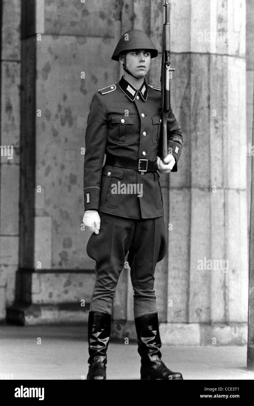 Soldier of the National People's Army of the GDR in East Berlin. - Stock Image