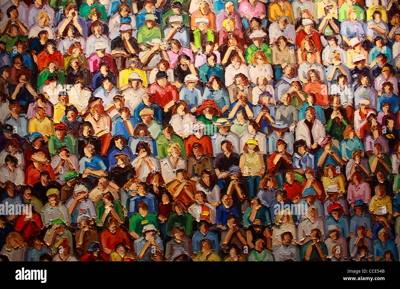 colourful painting of a crowd or audience, detail of Stadion by Ralph Fleck, 2011 - Stock Image
