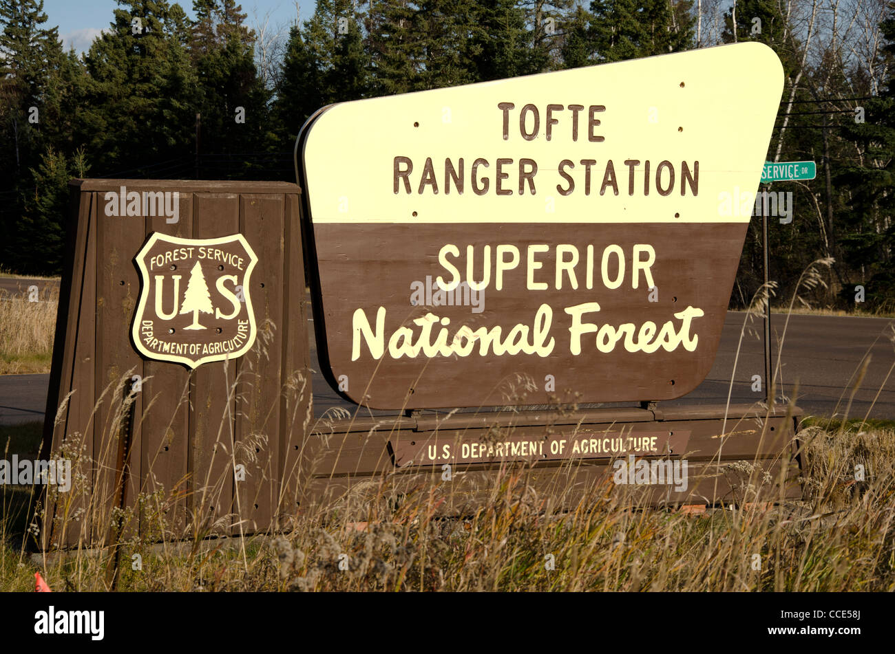Sign for Superior National Forest in northeast Minnesota in the North Shore area - Stock Image