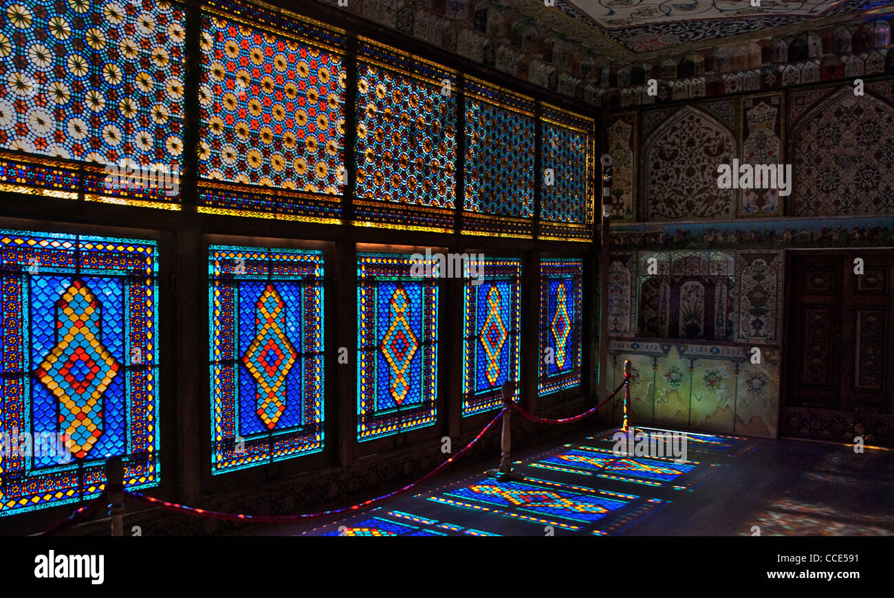 Windows of the Khan's Palace, Shaki, Azerbaijan, Oct 2011 - Stock Image