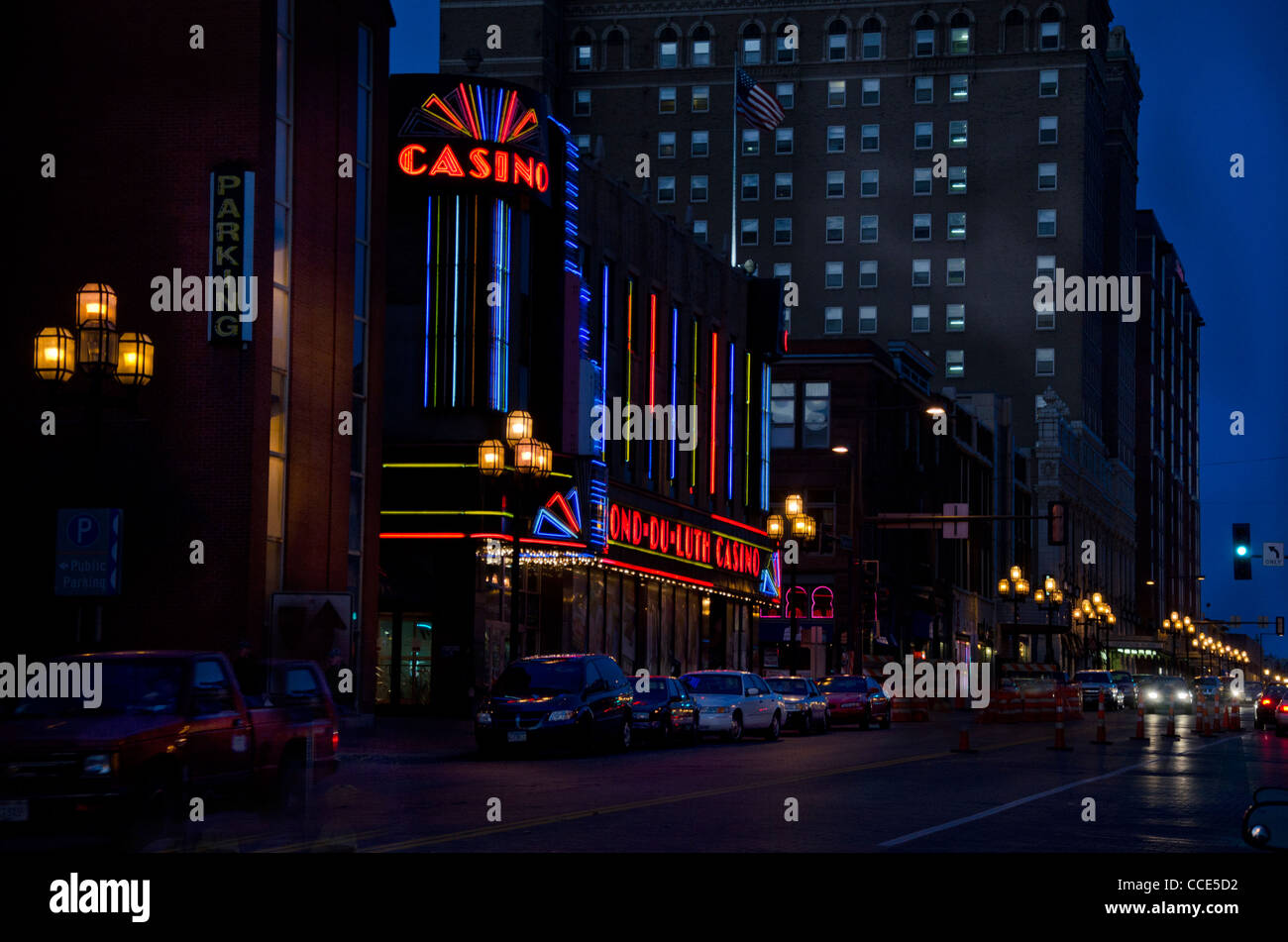 Fond-Du-Luth Casino in Duluth, Minnesota at night - Stock Image