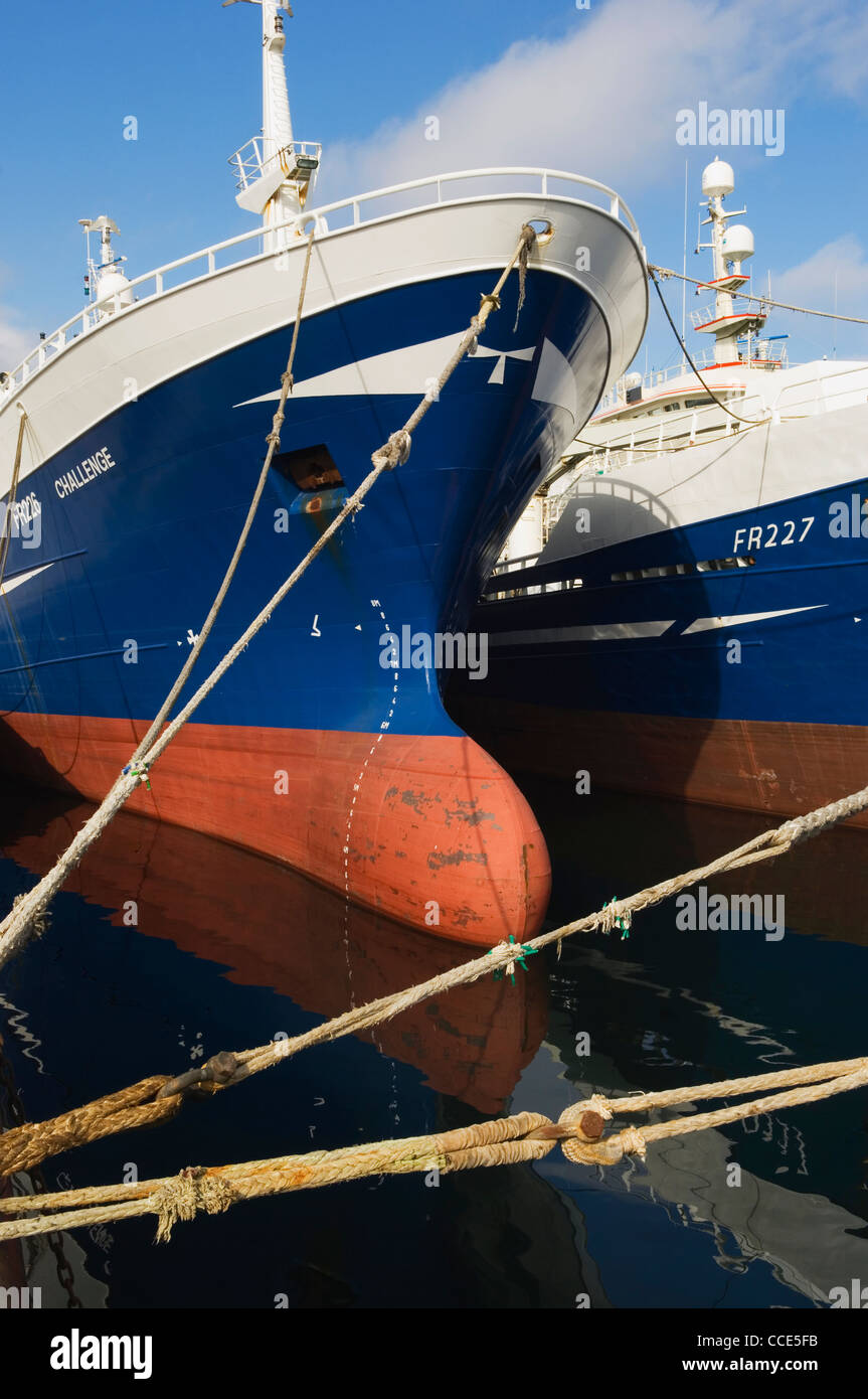 Deep sea trawlers at Fraserburgh harbour, Aberdeen-shire, Scotland. - Stock Image