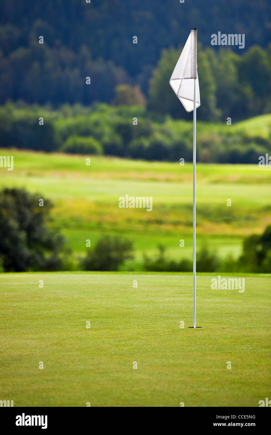 Golf field. Focus on flag. - Stock Image