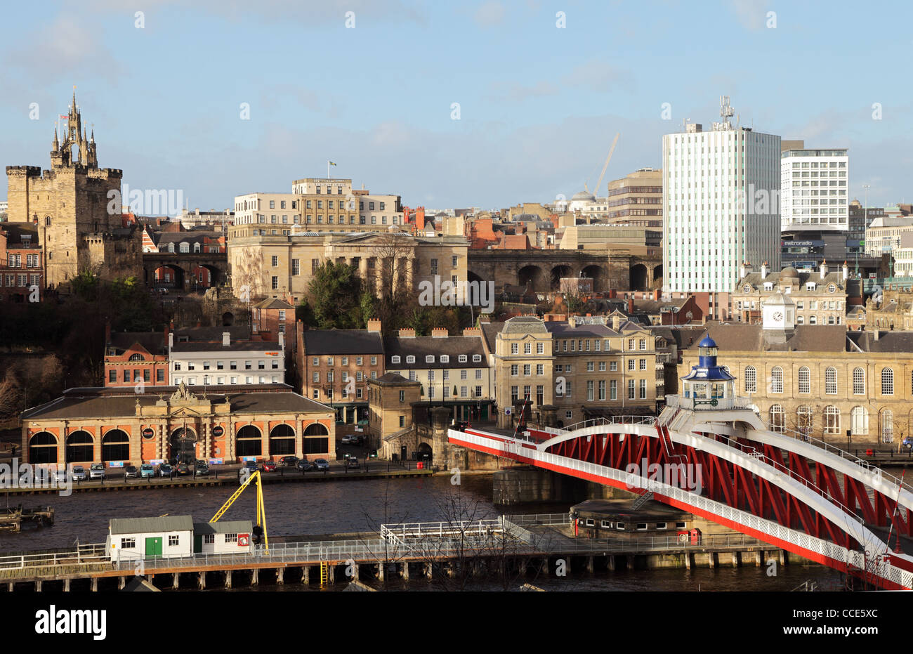 Newcastle skyline with swing bridge in the foreground north east England UK Stock Photo
