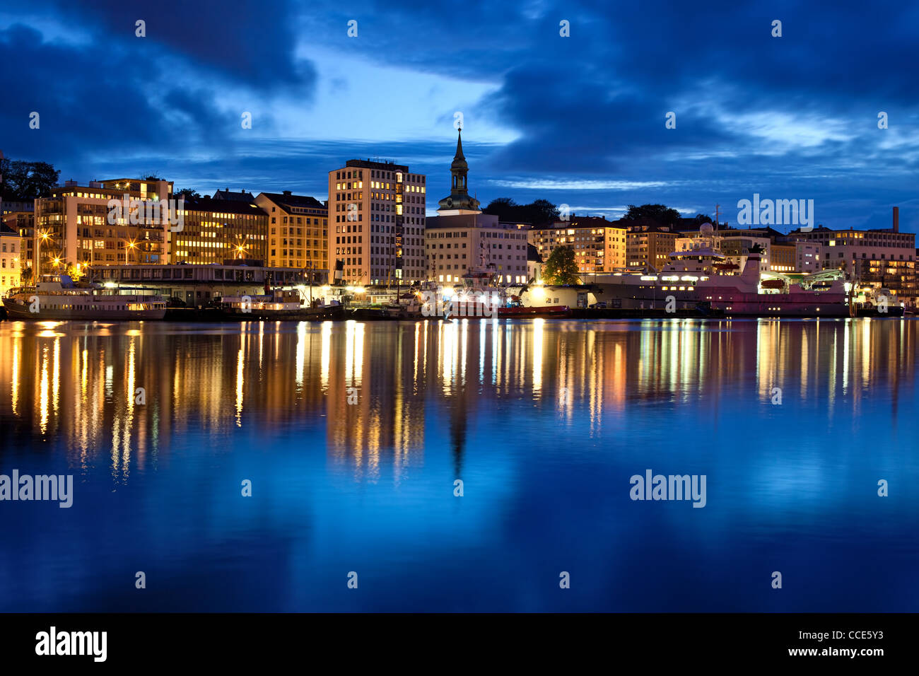 Bergen city in Norway. Night panorama. - Stock Image