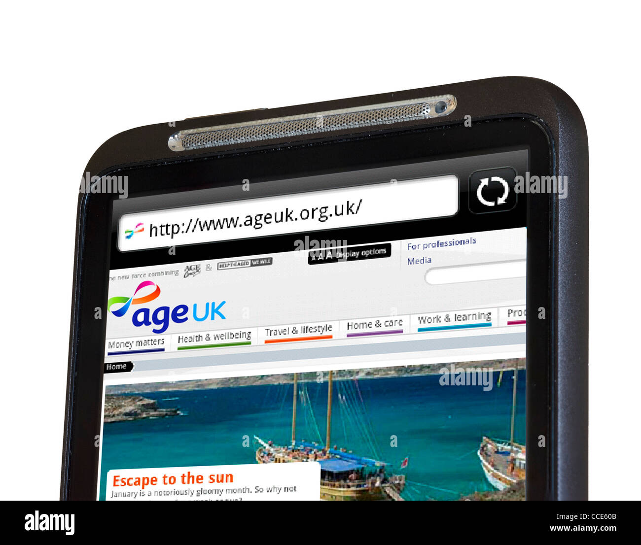 The Age UK charity website (an amalgamation of Age Concern and Help the Aged) viewed on an HTC smartphone - Stock Image