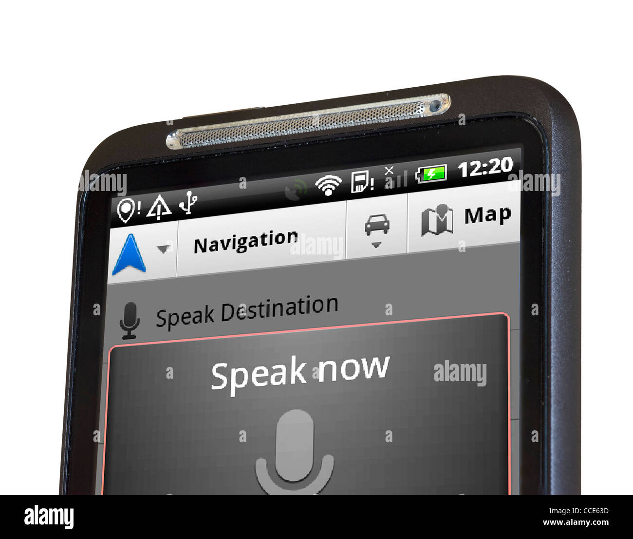 Voice recognition on Google Maps Navigation with an HTC smartphone - Stock Image