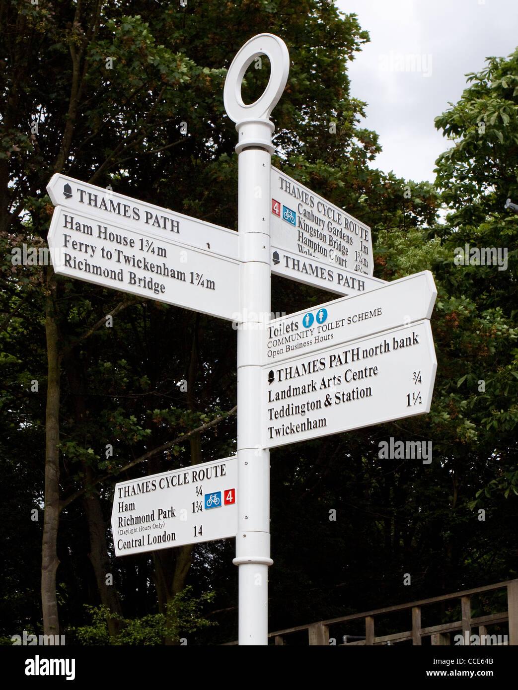 Thames Path Sign. Teddington Lock, River Thames, London, UK Stock Photo
