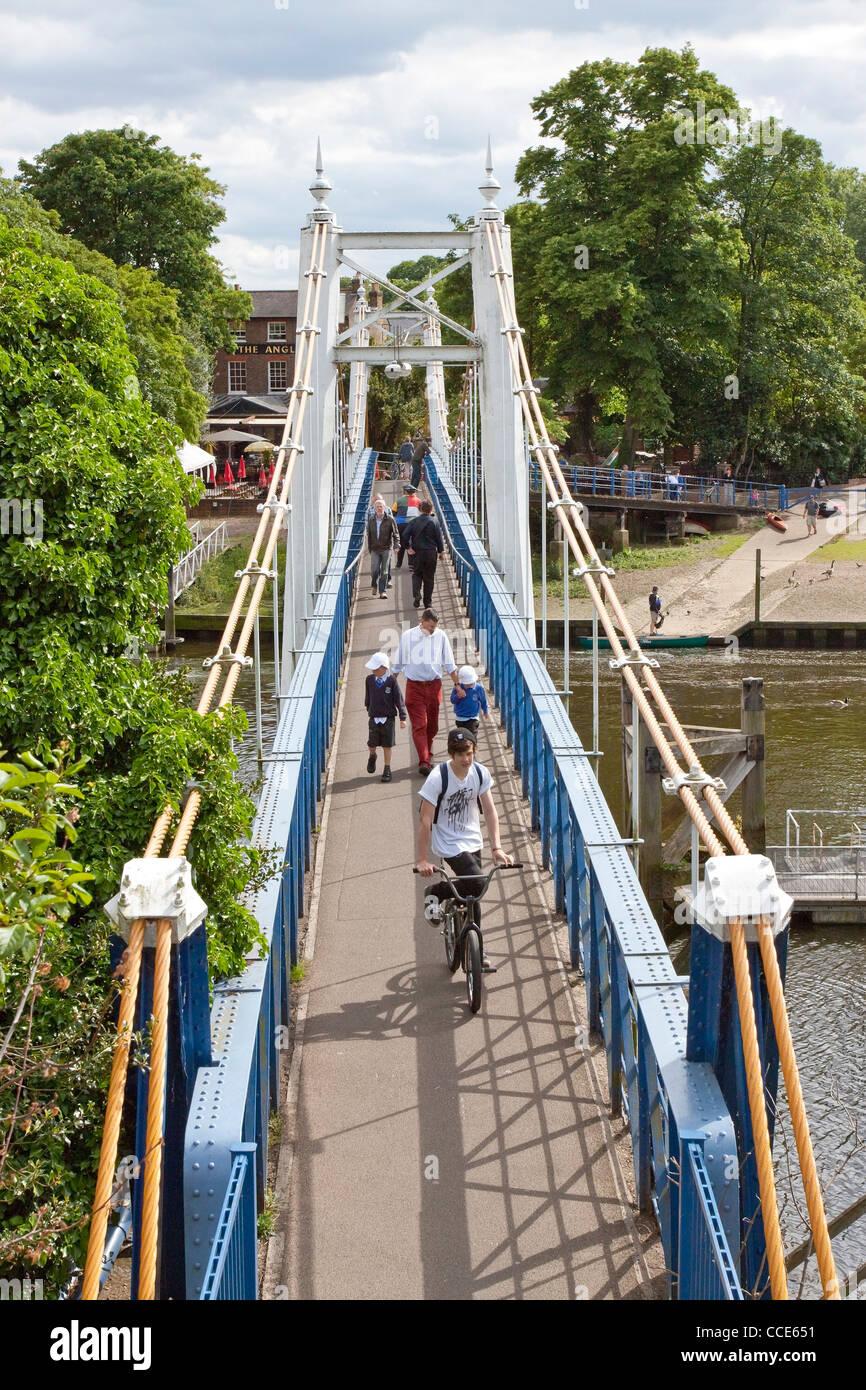 Teddington Lock Bridge, River Thames, London, UK Stock Photo