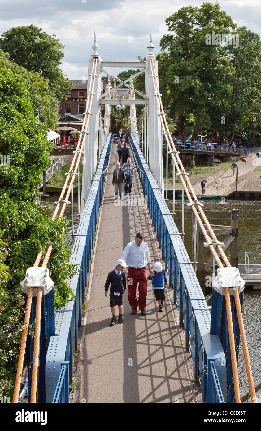 Teddington Lock Bridge, River Thames, London, UK Stock Photo
