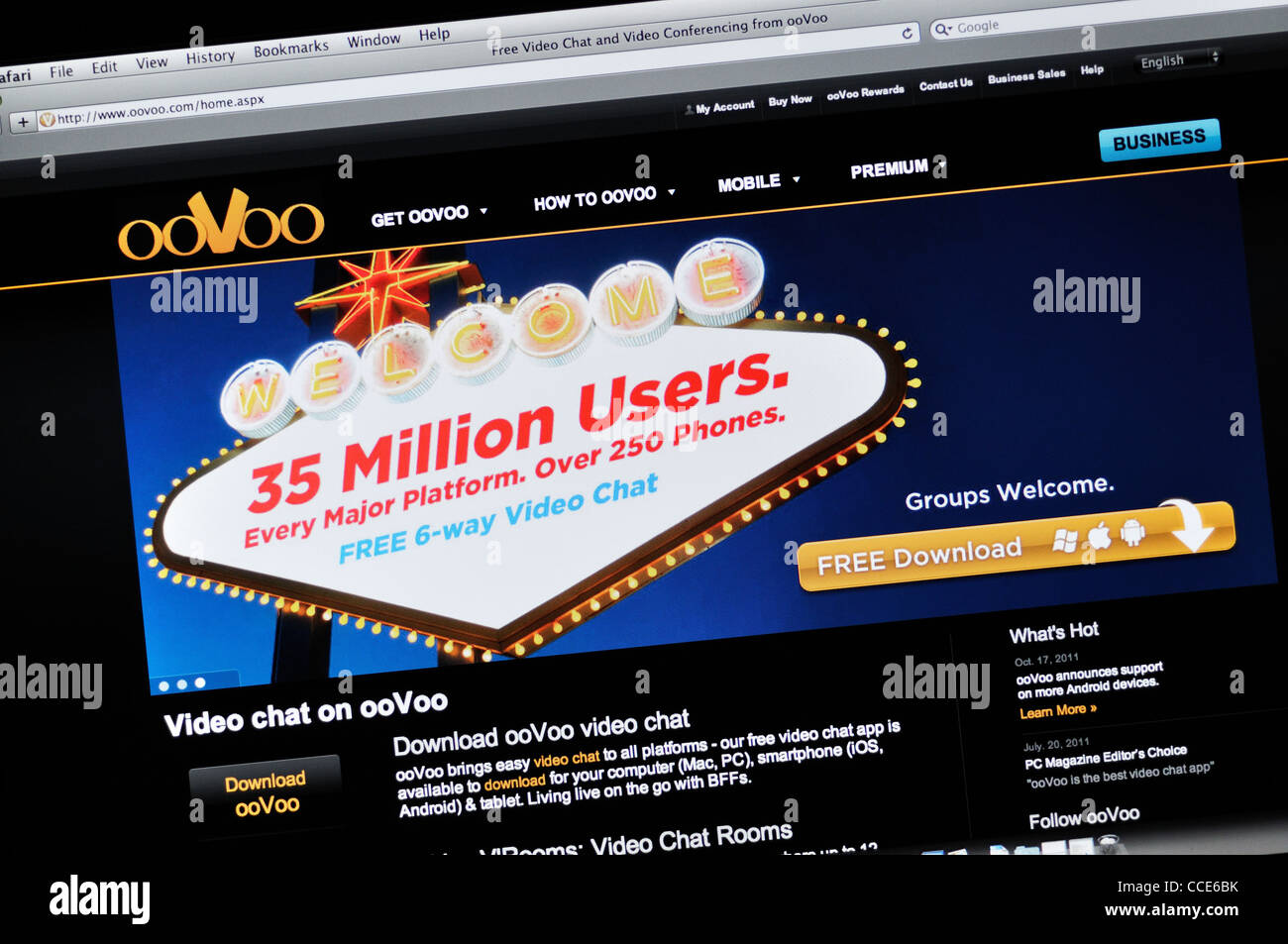 Oovoo com - video chat and video conferencing website Stock