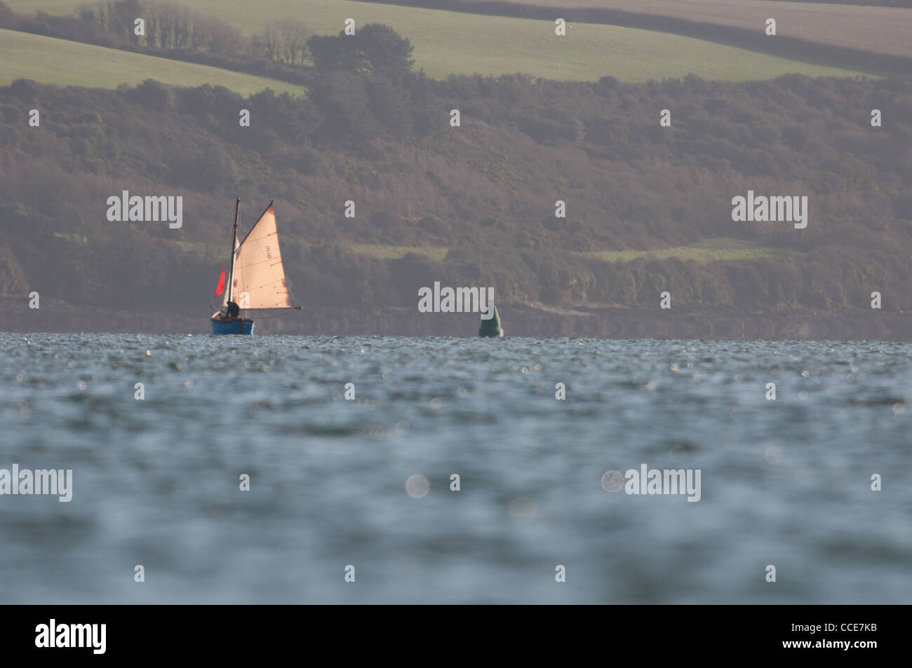 Sailing boat in the Carrick Roads - Stock Image