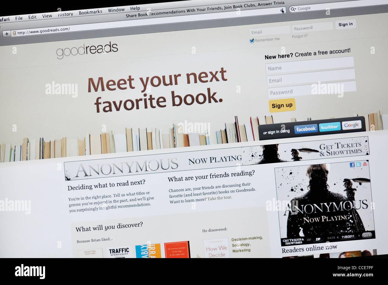 Goodreads com - book cataloging website Stock Photo