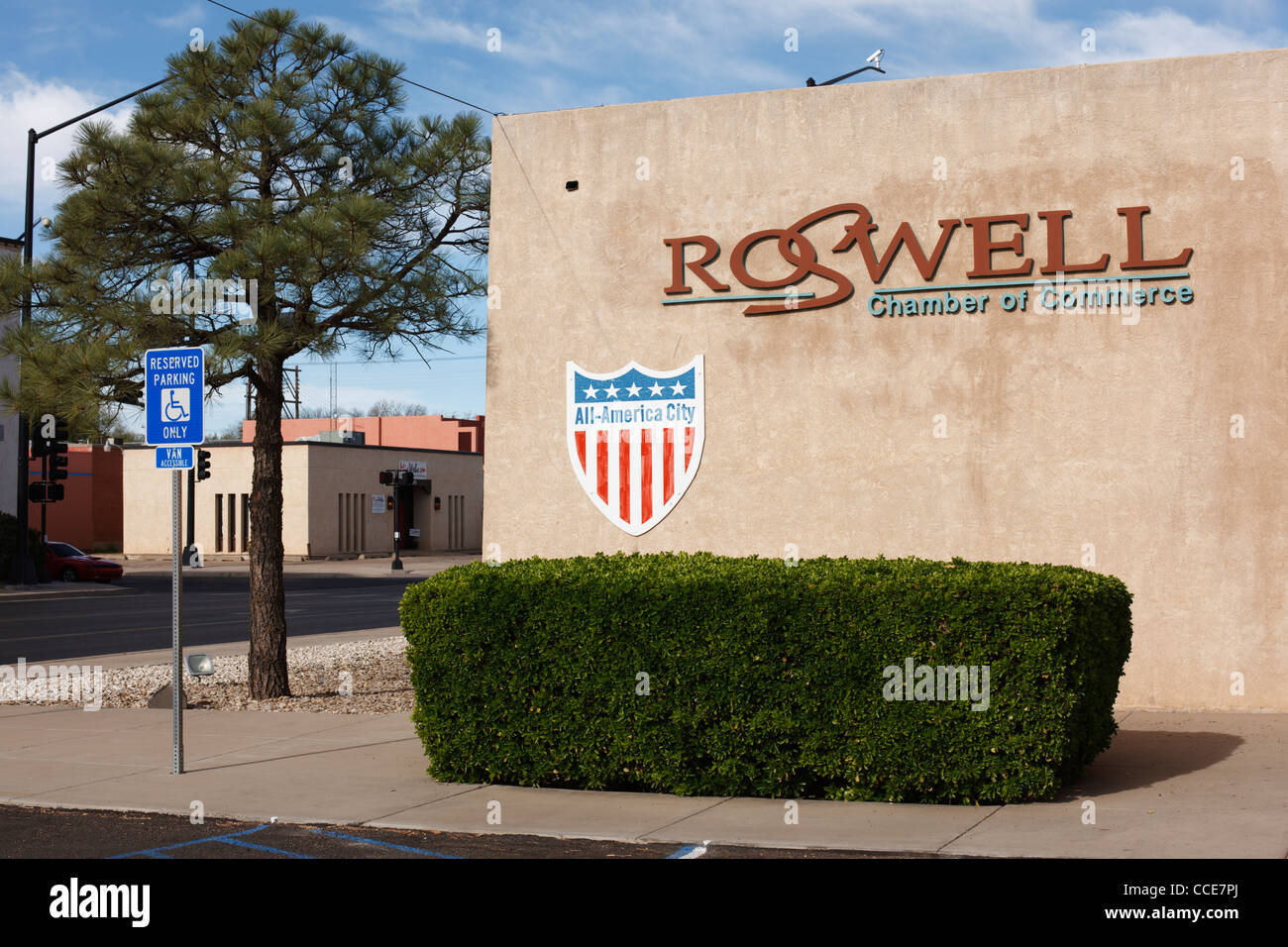 The Roswell, New Mexico Chamber of Commerce. - Stock Image