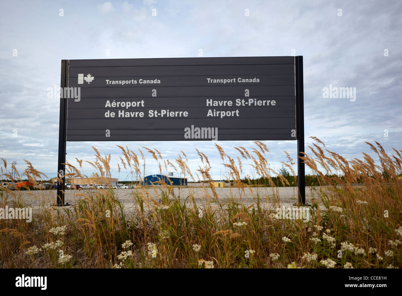 Havre St-Pierre Airport Sign (Aeroport de Havre St-Pierre), Quebec, Canada - Stock Image