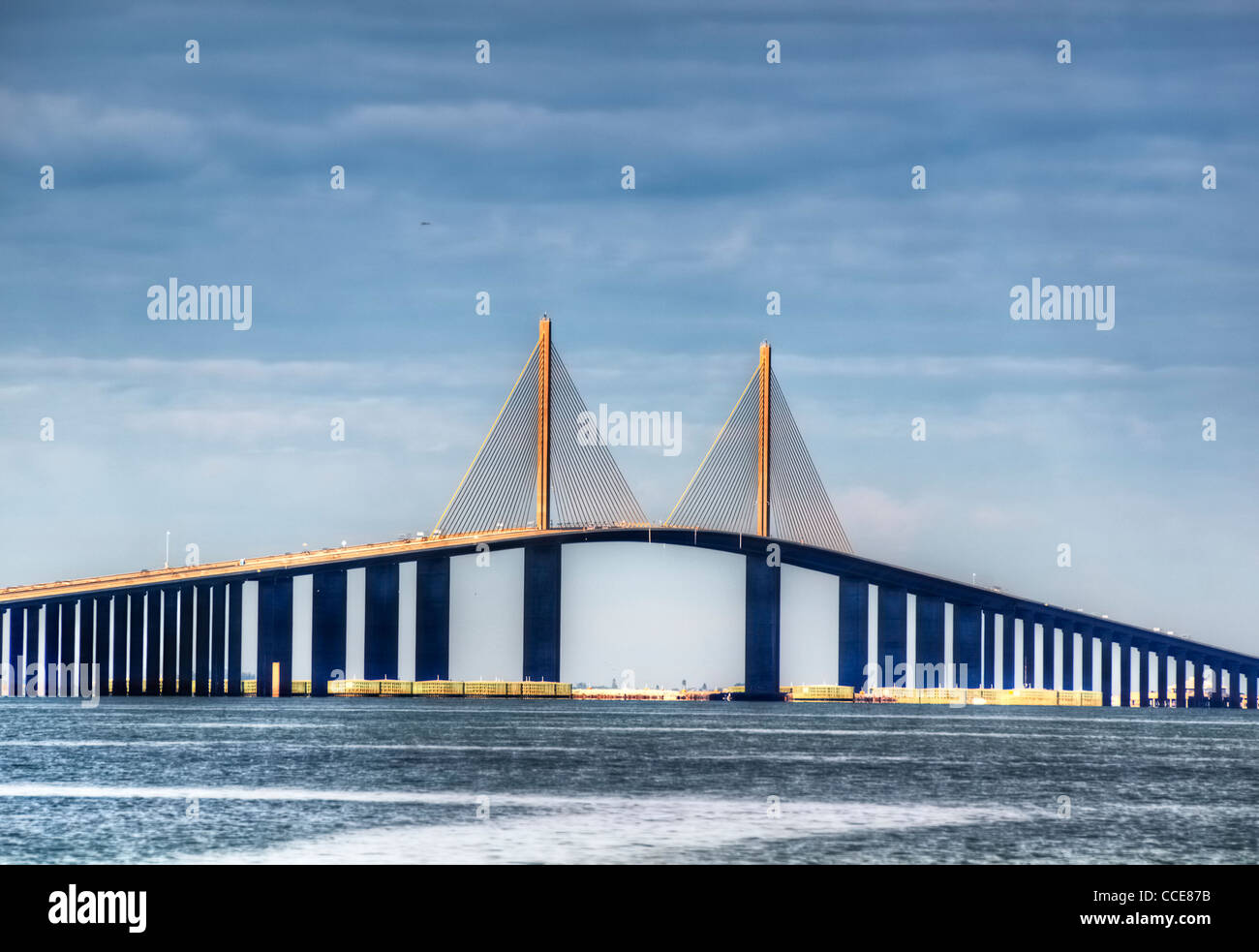 Sunshine Skyway in St. Petersburg, Florida - Stock Image