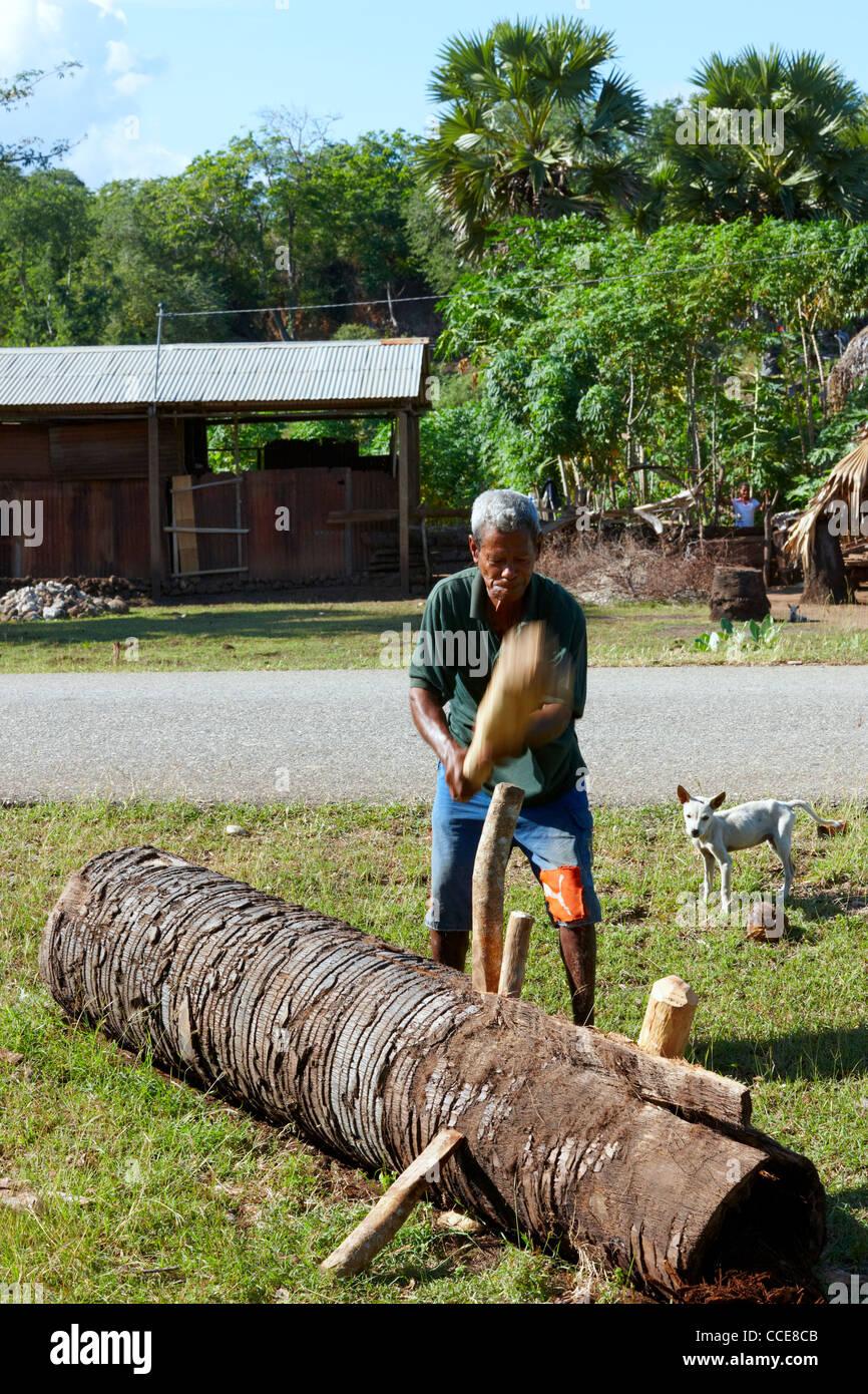 Traditional log splitting, Timor-Leste, Asia - Stock Image