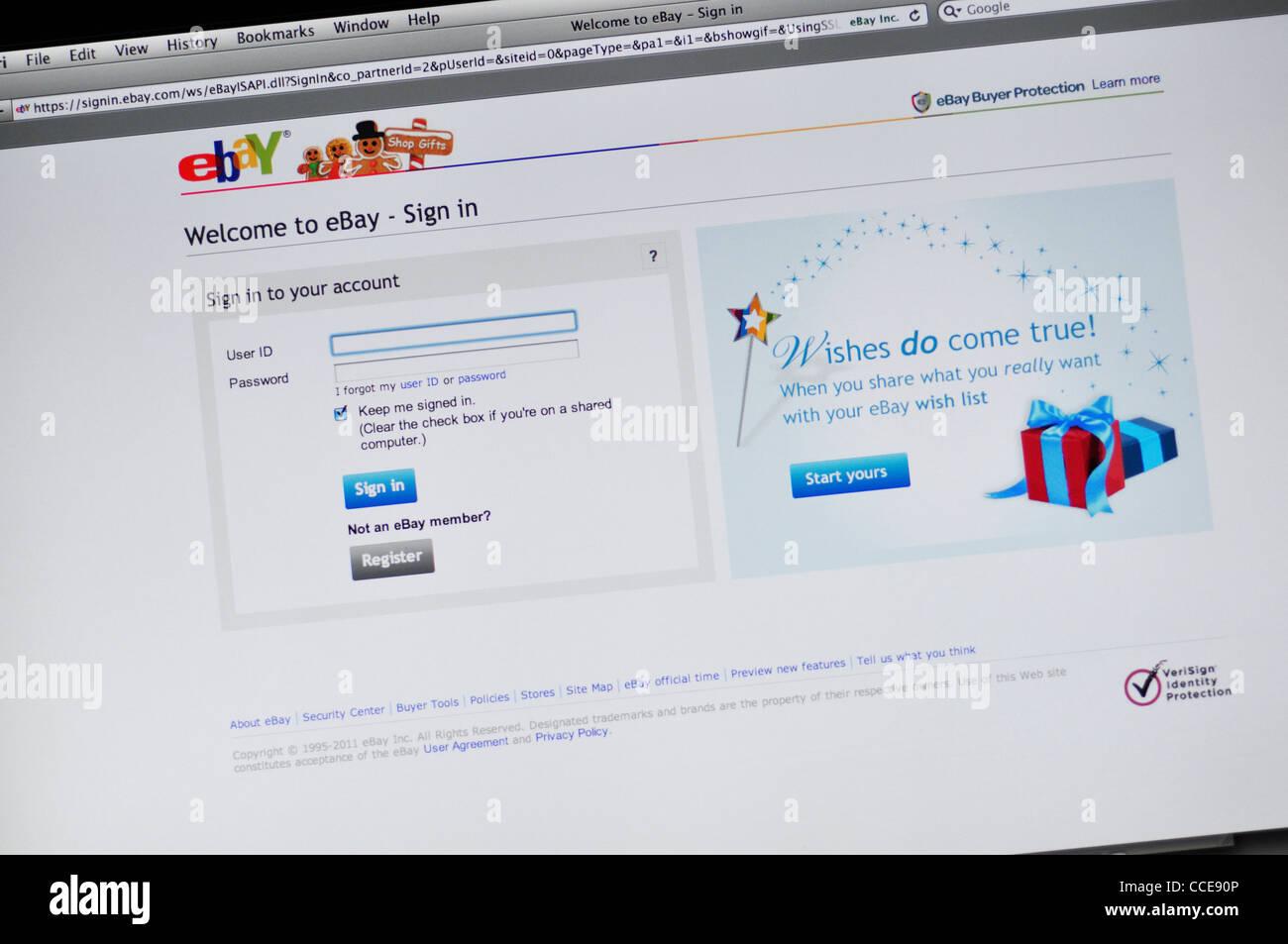 Ebay Website Sign In Stock Photo Alamy