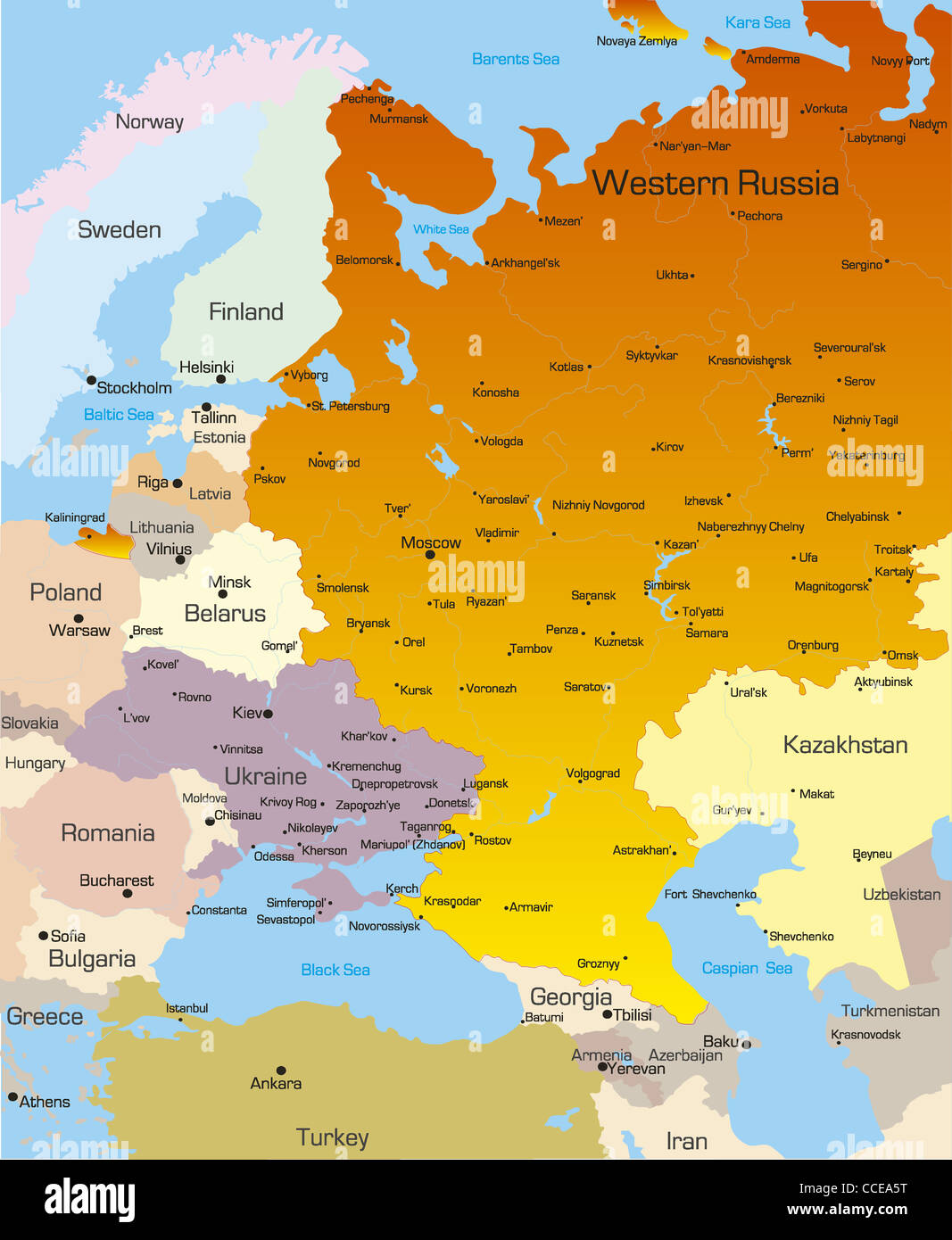 Vector color map of West Russia region Stock Photo: 42111940   Alamy