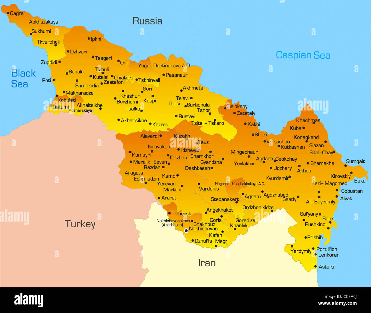 Vector map of Caspian region countries - Stock Image