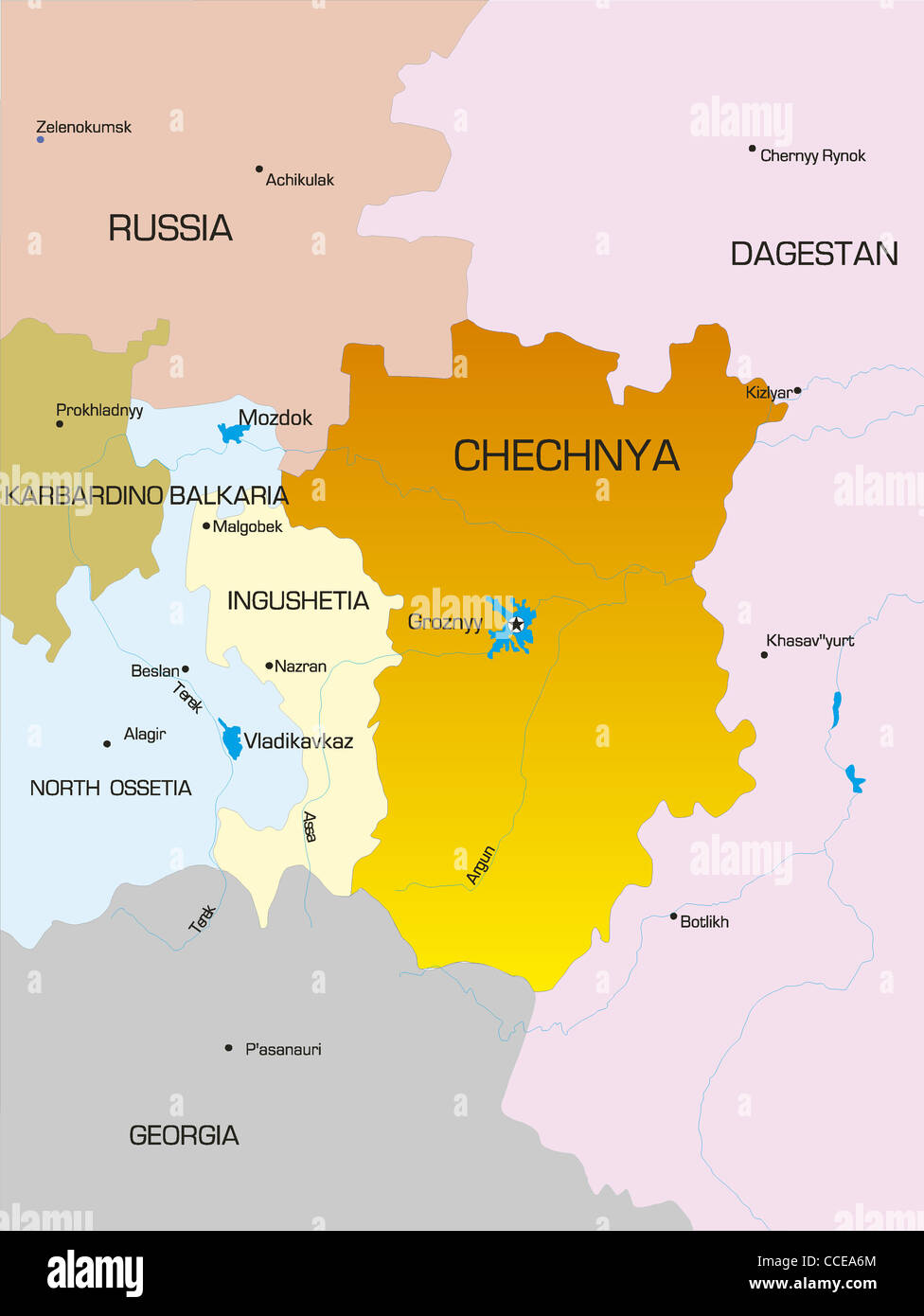 Vector map of Chechen Republic country - Stock Image