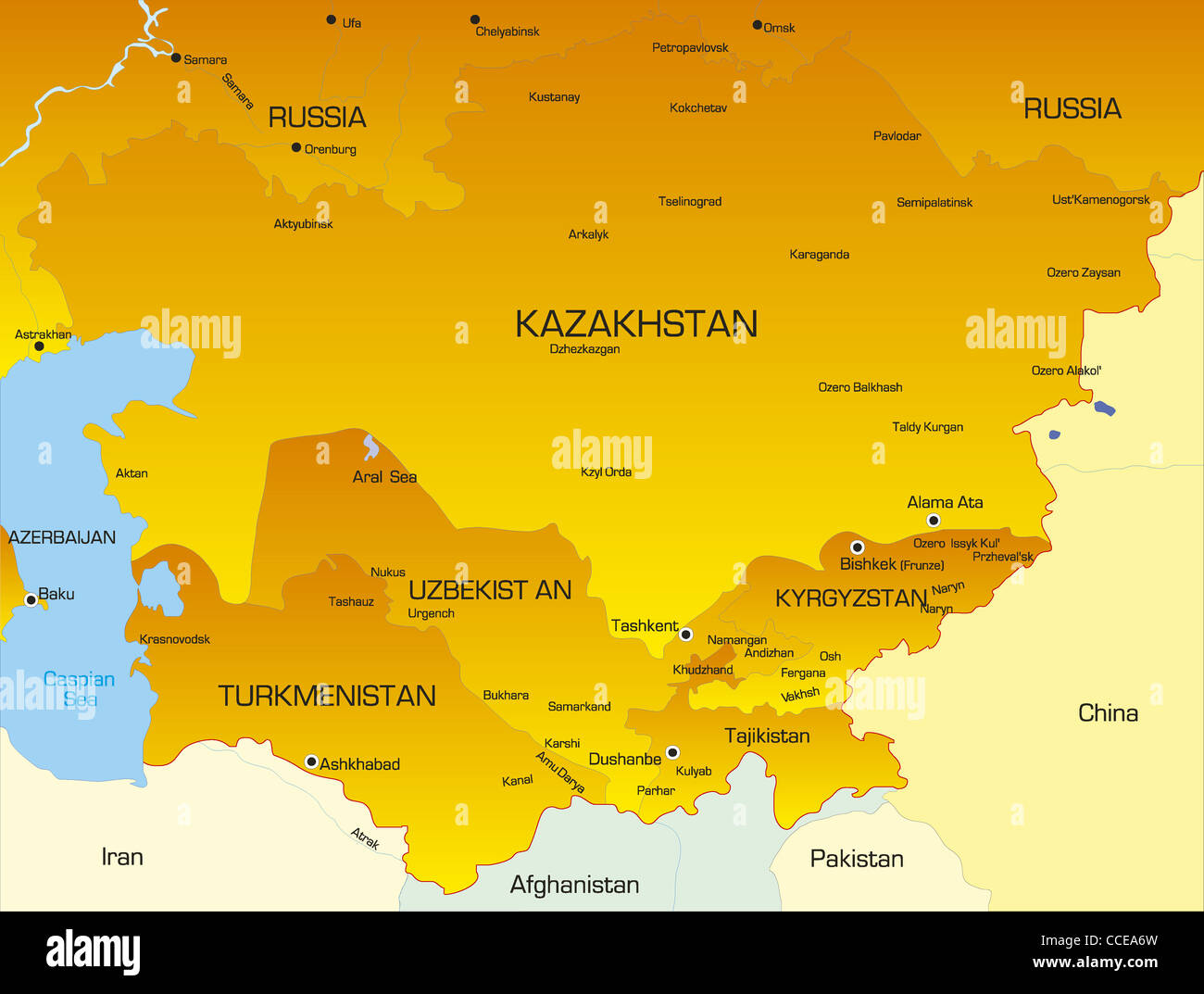 Vector color map of Central Asia countries - Stock Image