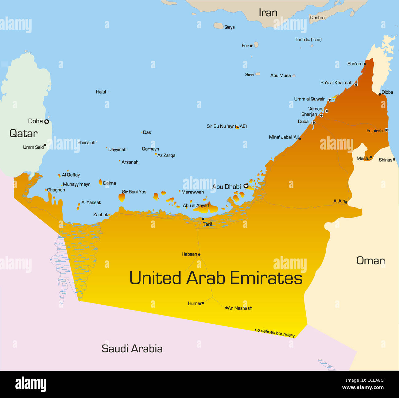 vector color map of united arab emirates country
