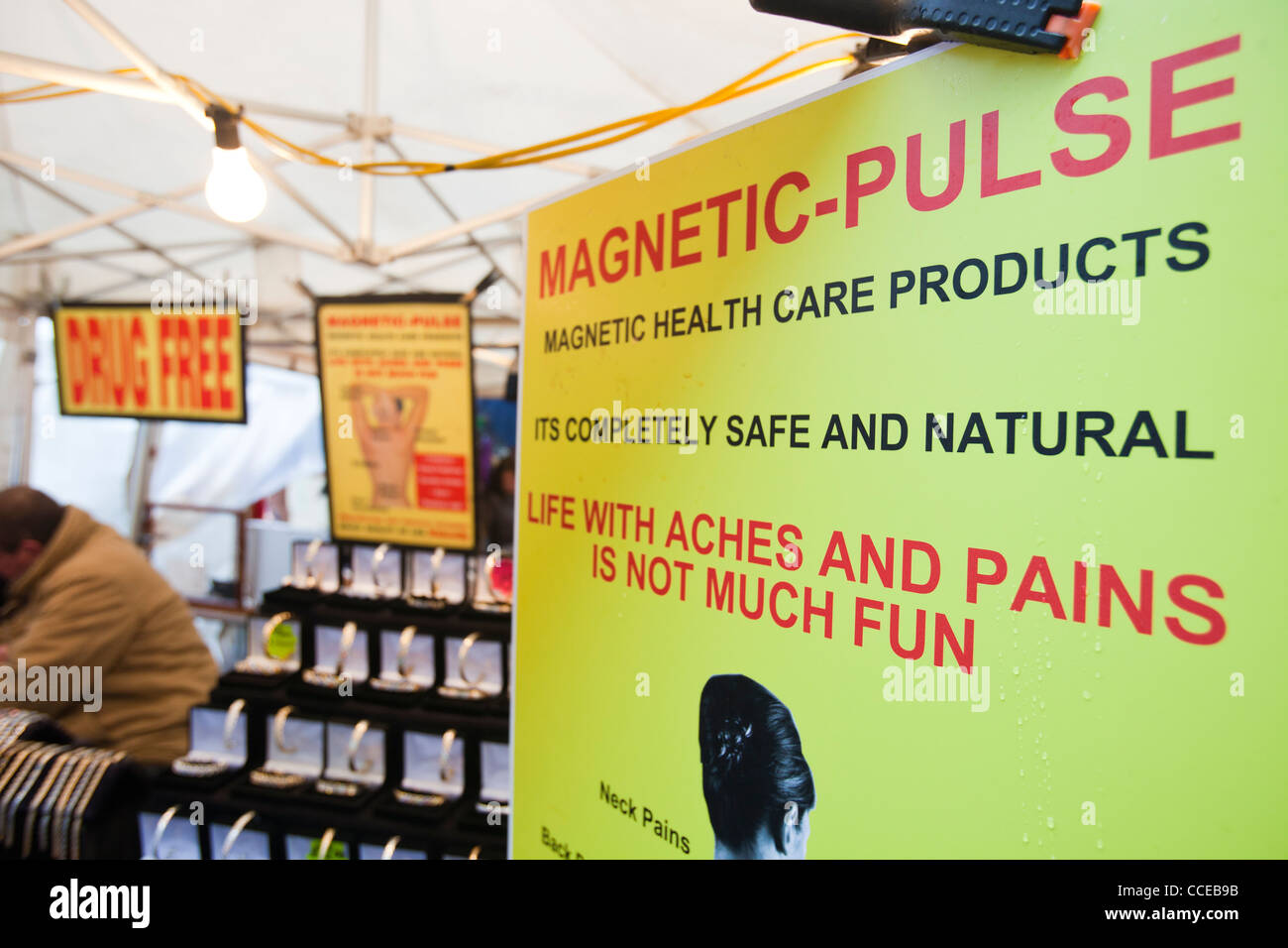 Magnetic pulse health devices for sale on Keswick market, Cumbria, UK, - Stock Image