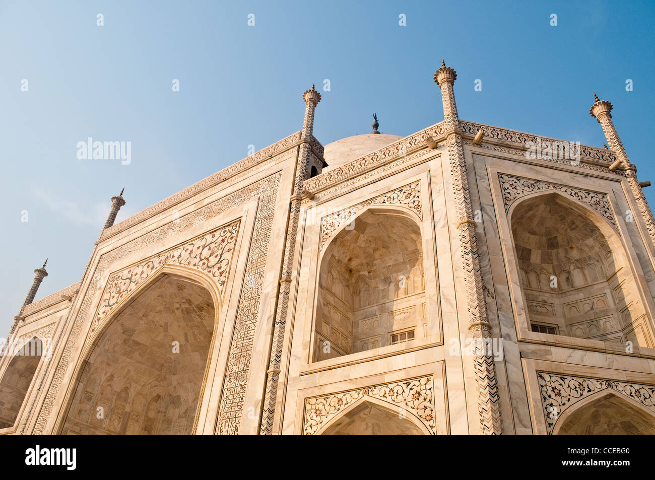 Detail with alcove and floral pattern of precious stones, Taj Mahal, Agra, India - Stock Image